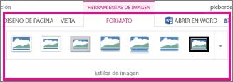 Agregue un borde eligiendo Formato y, a continuación, seleccione Estilos de imagen.