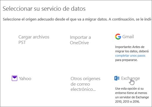 En la página de migración, seleccione Exchange como servicio de datos