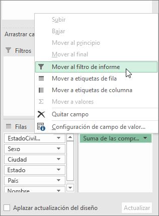 Mover a filtro de informe