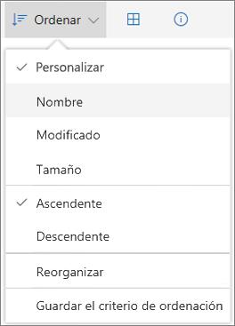 Captura de pantalla del menú Ordenar en OneDrive