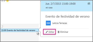 Editar un evento del calendario