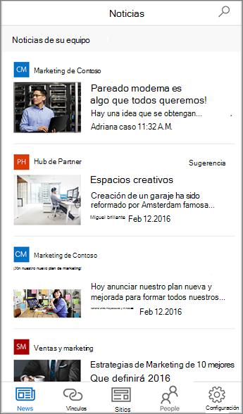 Captura de pantalla de Noticias de equipo agregadas