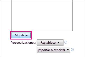 Botón Modificar en el cuadro Personalizar la barra de herramientas de acceso rápido