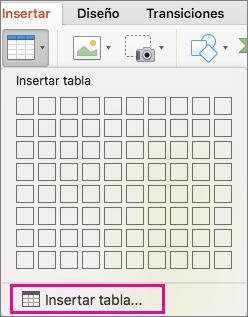 Opción de menú Insertar tabla