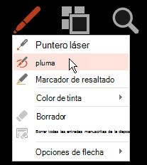 Haga clic en el botón lápiz y, a continuación, elija pluma en el menú emergente.