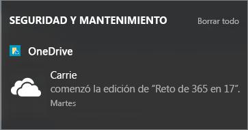 Obtener notificaciones en el centro de actividades de Windows 10 cuando compañeros edición sus archivos compartidos