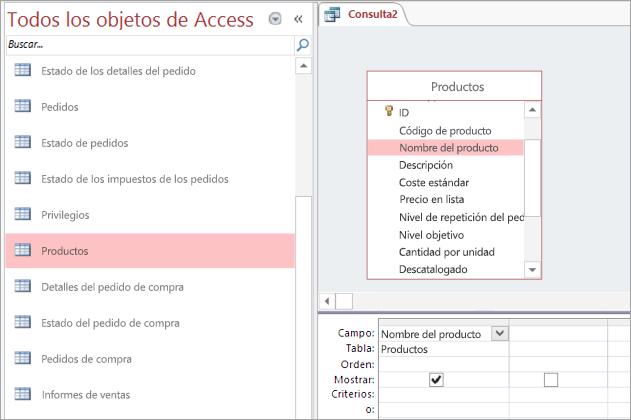 Captura de pantalla de la vista de todos los objetos de Access