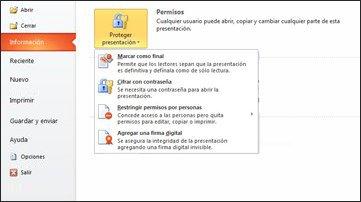 Botón Proteger presentación con opciones