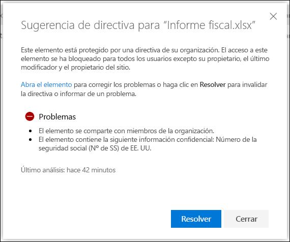 Sugerencia de directiva para un documento de una cuenta de OneDrive