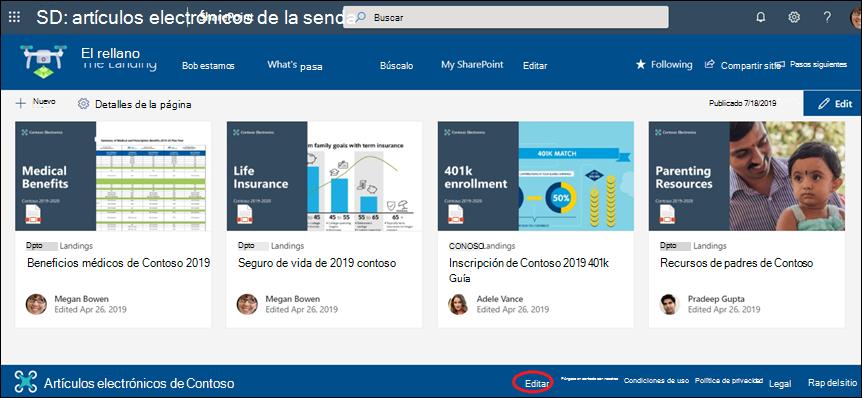 Agregue o edite vínculos y etiquetas en un pie de página de un sitio de comunicación de SharePoint.