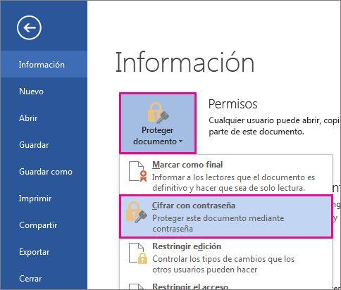 Proteger un documento con contraseña