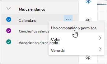 Captura de pantalla del cursor sobre Uso compartido y permisos en el menú contextual del calendario