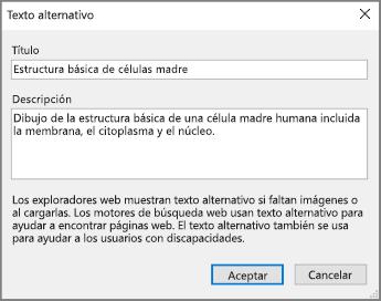 Captura de pantalla del cuadro Texto alternativo en OneNote con ejemplos en los campos Título y Descripción.