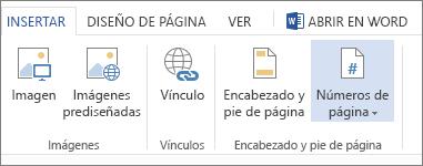 Imagen de la opción Números de página en la pestaña Insertar