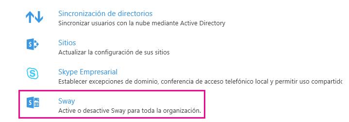 """Desplácese hacia abajo en la pantalla """"Servicios y complementos"""" y haga clic en Sway."""