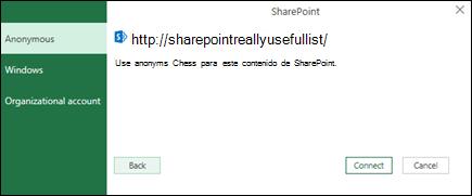 Excel Power Query conectarse a un cuadro de diálogo conexión de lista de Sharepoint