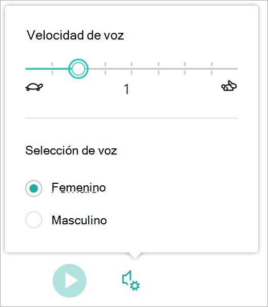 La velocidad de voz de lector inmersivo y el sexo