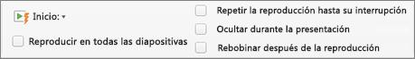 Opciones de audio en la parte derecha de la pestaña Formato de audio