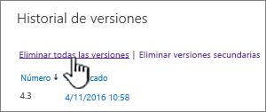 Cuadro de diálogo de versión, con la opción Eliminar todas las versiones resaltadas