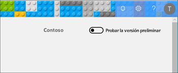 Captura de pantalla: que muestra el botón de alternancia de vista previa intente desde el centro de administración clásica.