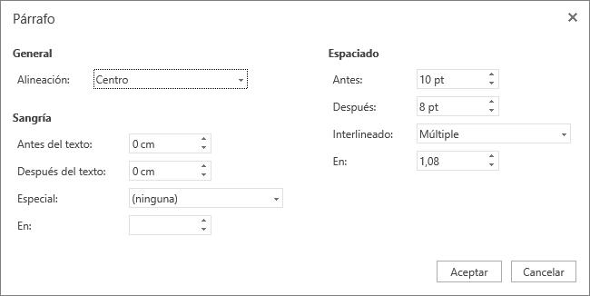 Captura de pantalla del cuadro de diálogo Párrafo, que muestra las opciones General, Sangría y Espaciado.