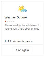 Captura de pantalla del complemento de Outlook del tiempo disponible con una prueba gratuita o de pago.