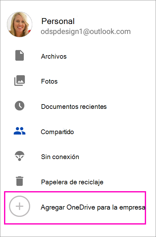 Agregar OneDrive para la empresa.
