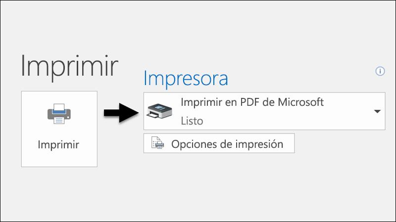 Use el comando Imprimir para convertir un correo electrónico a archivo PDF.