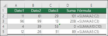 Excel muestra un error cuando una fórmula no coincide con el patrón de las fórmulas adyacentes