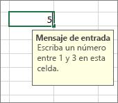 Mensaje de entrada que se muestra para una celda