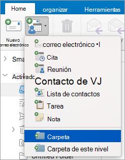 Se muestra al seleccionar la carpeta de la lista de nuevos elementos.