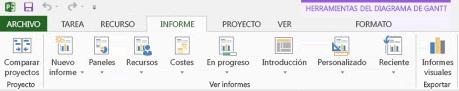 Pestaña Informes en Project 2013