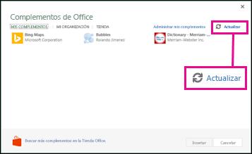 Botón Actualización de complementos de Office