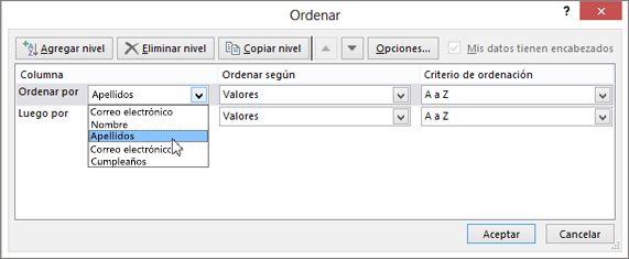 En Columna, haga clic en Ordenar por y seleccione una opción