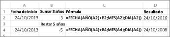 Ejemplos de suma y resta de fechas