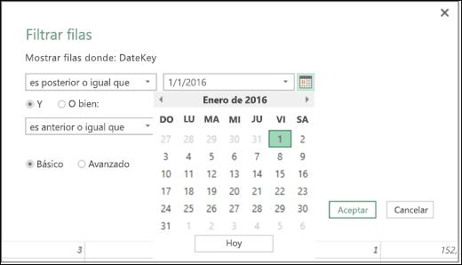 Compatibilidad del Selector de fecha de Power BI para Excel con valores de fecha de entrada en los cuadros de diálogo Filtrar filas y Filtrar columnas condicionales