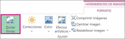 Botón Quitar fondo ubicado en el grupo Ajustar de la pestaña Formato en Herramientas de imagen