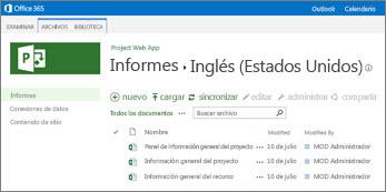En la biblioteca de informes del sitio de ProjectOnline, encontrará los informes de ejemplo
