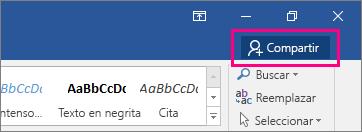 El icono Compartir está resaltado en el lado derecho de la cinta de opciones