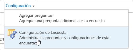 Menú de configuración de encuesta con la configuración de la encuesta resaltado