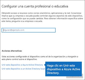 Haga clic en Unir este dispositivo a Azure Active Directory.