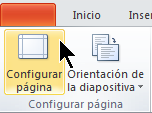 En la pestaña Diseño de la Cinta, seleccione Configurar página.