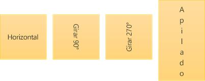 Ejemplos de dirección del texto: horizontal, girado y apilado