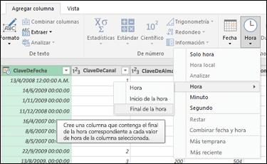 Power Query: extraer el inicio o el final de la hora de una columna de hora o de fecha y hora desde el Editor de consultas