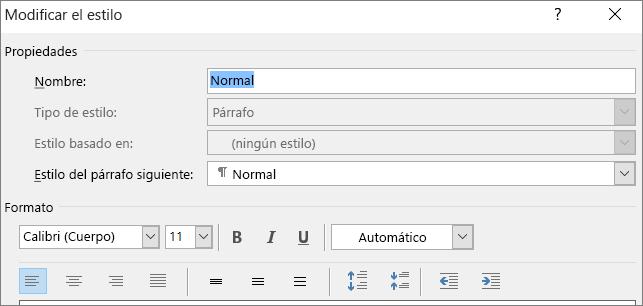 Opción Modificar estilo de formato de Word