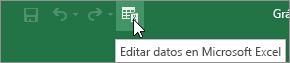 Icono Editar datos de Microsoft Excel en la barra de herramientas de acceso rápido