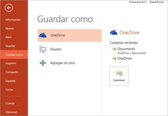Guardar en mi OneDrive