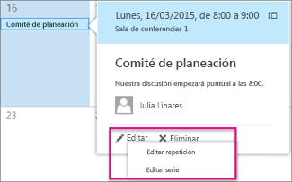 Modificar o eliminar un evento del calendario