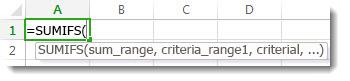 Uso de la fórmula Autocompletar para especificar la función SUMAR.SI.CONJUNTO