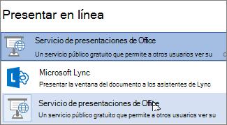 Presentar en línea usando el Servicio de presentaciones de Office
